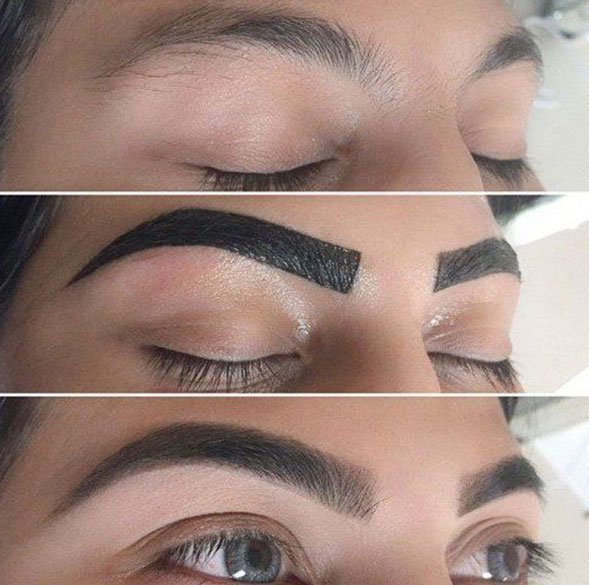 Eyebrow Tint Before, During and After