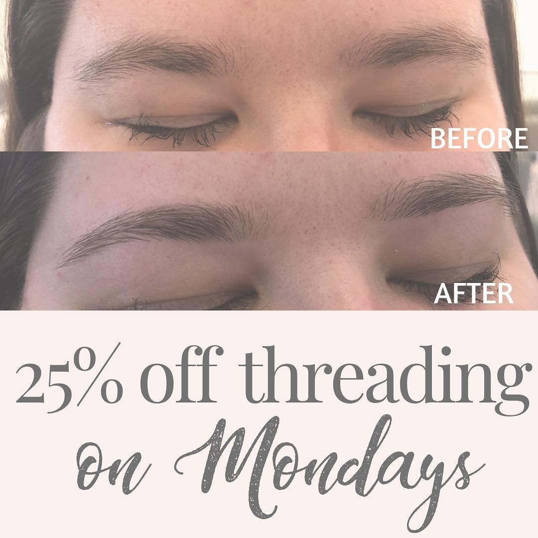 25% off threading on Mondays